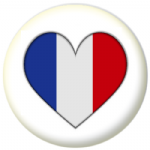France Country Flag Heart 25mm Pin Button Badge
